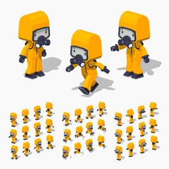 Low poly man in the orange protective suit. 3D lowpoly isometric vector illustration. The set of objects isolated against the white background and shown from different sides