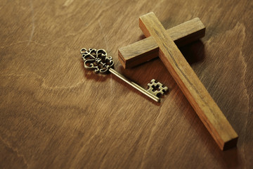 Wooden cross and key