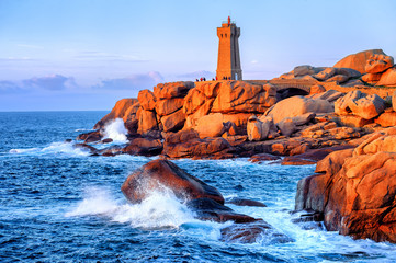 Lighthouse of Ploumanach  on Cote de Granite Rose, Brittany, Fra Wall mural