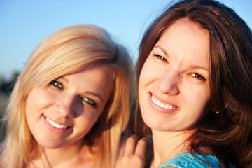 portrait of pretty girlfriends