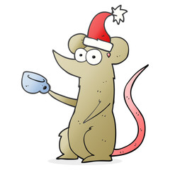 cartoon mouse wearing christmas hat