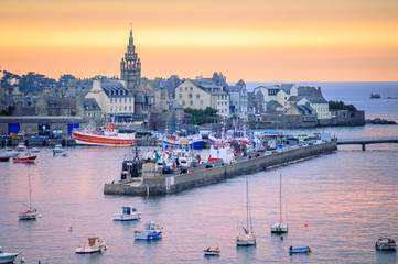 Sunset over the port of Roscoff, Brittany, France Wall mural