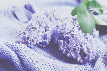 Tender lilac flowers over knitted sweater
