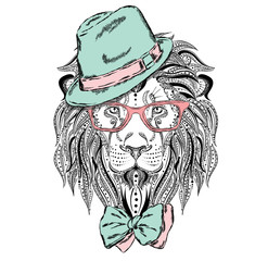 Ethnic lion wearing a hat and tie. Leo glasses. Fashion & Style. Hipster. Print. Experiment. Shocking.