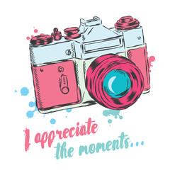 Vintage camera vector. Poster. Card. I appreciate the moments.