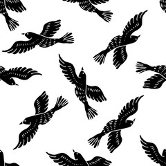 Vector abstract seamless pattern with birds.