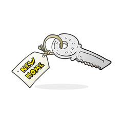 cartoon house key with new home tag