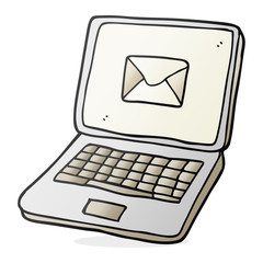 cartoon laptop computer with message symbol on screen
