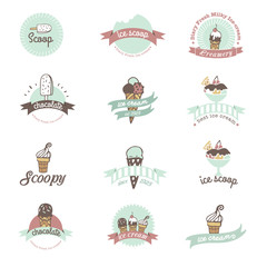Vintage Retro Ice Cream Badges And Labels.