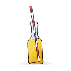 cartoon soda bottle and straw