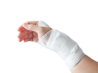 Injured painful hand with white gauze bandage. isolated on white