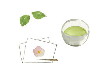 茶道水彩イラスト