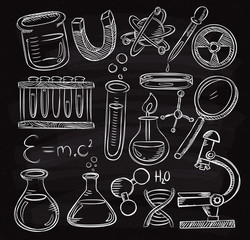 Set of laboratory equipment doodle on chalk board
