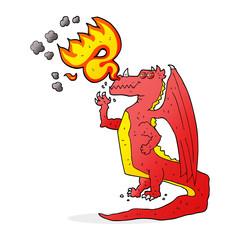 cartoon happy dragon breathing fire