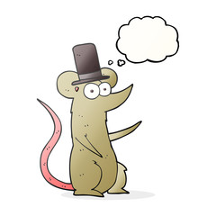 thought bubble cartoon mouse wearing top hat