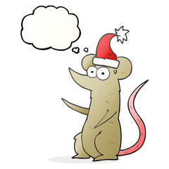 thought bubble cartoon mouse wearing christmas hat