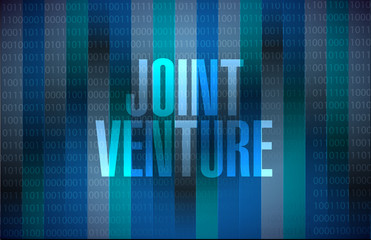 Joint Venture binary background sign concept