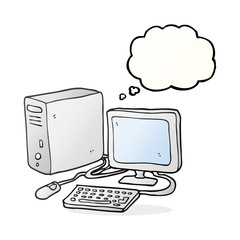 thought bubble cartoon computer