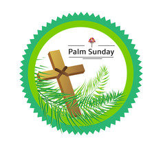 Palm sunday emblem isolated on white, vector illustration