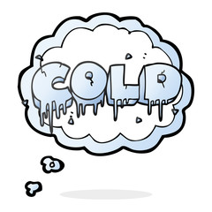 thought bubble cartoon cold text symbol