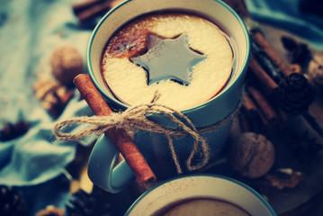 Tea Spices Cinnamon Cup Drink Shape Star Toned