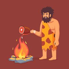 Stone age primitive man in animal hide pelt