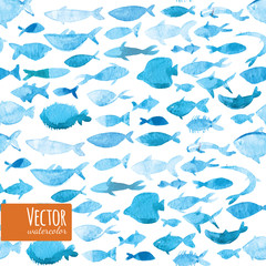 Concept design vector illustration art of group of beautiful watercolor fishes.