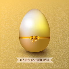 Happy Easter Day greeting card with colored eggs and flowers.