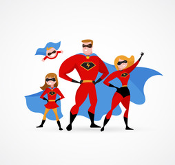 Super hero family - mom, daddy and children