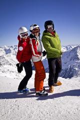 family enjoying winter sports in Solden, Austria