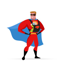 Aluminium Prints Superheroes Super hero daddy in superhero costume with carrier and baby