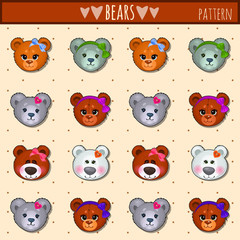Great heads set Teddy bears of different colors