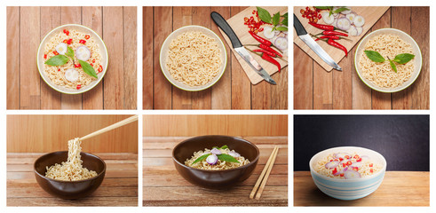 All noodle collection in bowl on wooden