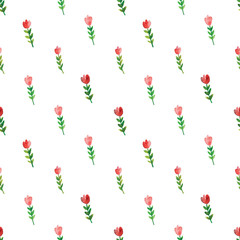 Watercolor Tulip pattern seamless in vector.