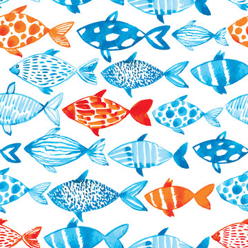 Vector watercolor fish on light background. Watercolor pattern s