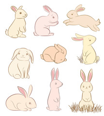set of cute rabbit drawings on white. vector
