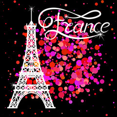 Eiffel Tower and lettering France on the pink glitter background