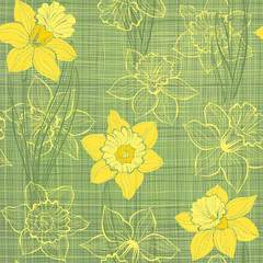 Seamless pattern with daffodils. Hand-drawn  vector illustration
