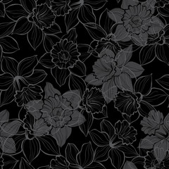 Seamless pattern with daffodils on black background. Hand-drawn vector background.