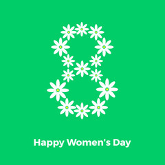 greeting card with flowers, women's day