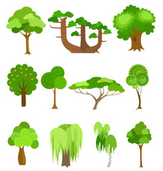 Vector trees icons illustrations. Simple cartoon style.