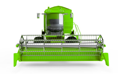 Green Combine harvester isolated on a white background. Front face view