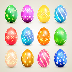 Colorful Easter eggs with decorative patterns