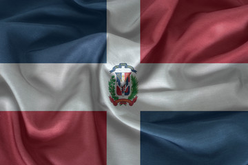 Waving colorful Dominican Republic flag