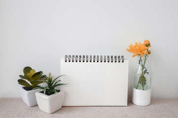 Notepad and plants pots, room interior mock up, copy space background