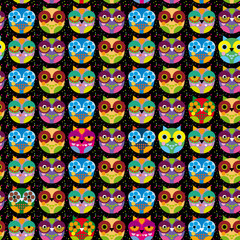 Seamless pattern with bright colored owl on a black background. Vector