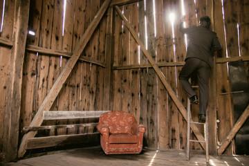 Businessman Climbing Ladder to New Opportunities -New Business Horizons