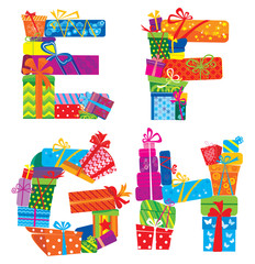 EFGH - english alphabet - letters are made of gift boxes and pre