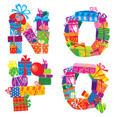 NOPQ - english alphabet - letters are made of gift boxes and pre