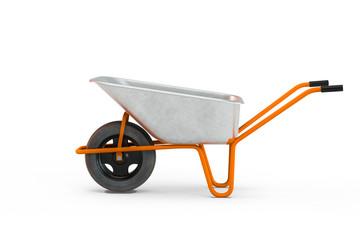 Garden metal wheelbarrow cart isolated on white background